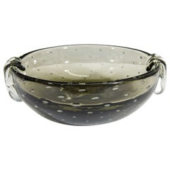 A Carl Erickson Smokey Gray 'Bullicante' Bubble Glass Bowl