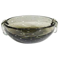 A Carl Erickson Smokey Gray 'Bullicante' Bubble Glass Bowl