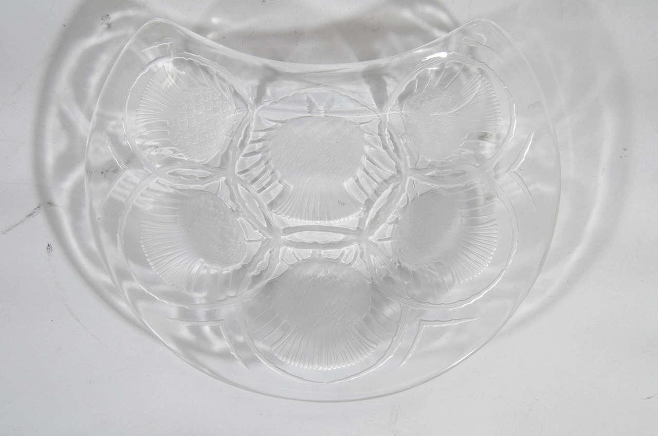 French Vintage Set of 12 Lalique Crystal Chardon Thistle Dessert Plates