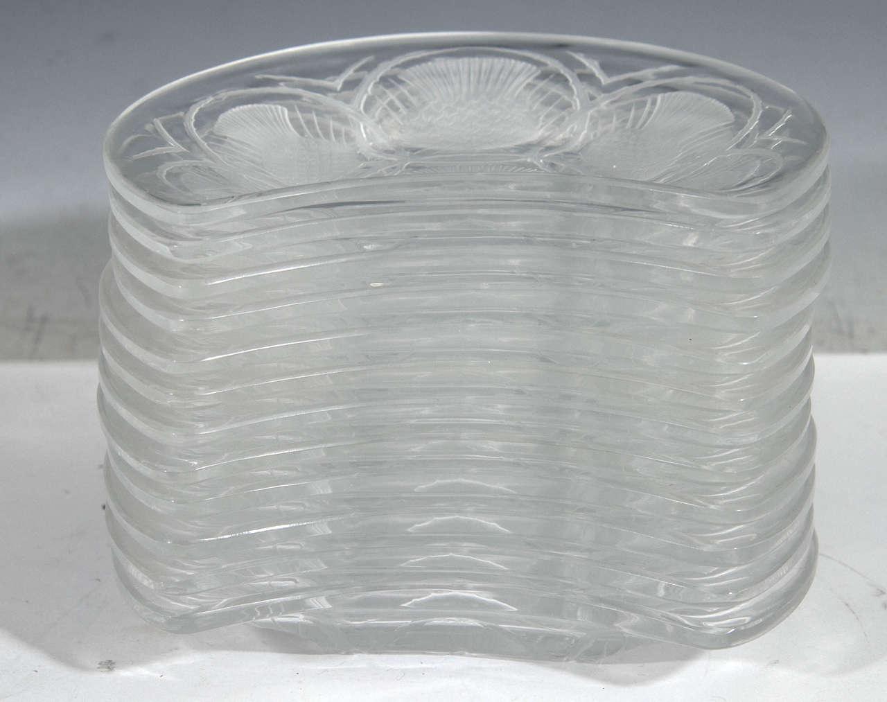 Vintage Set of 12 Lalique Crystal Chardon Thistle Dessert Plates 3