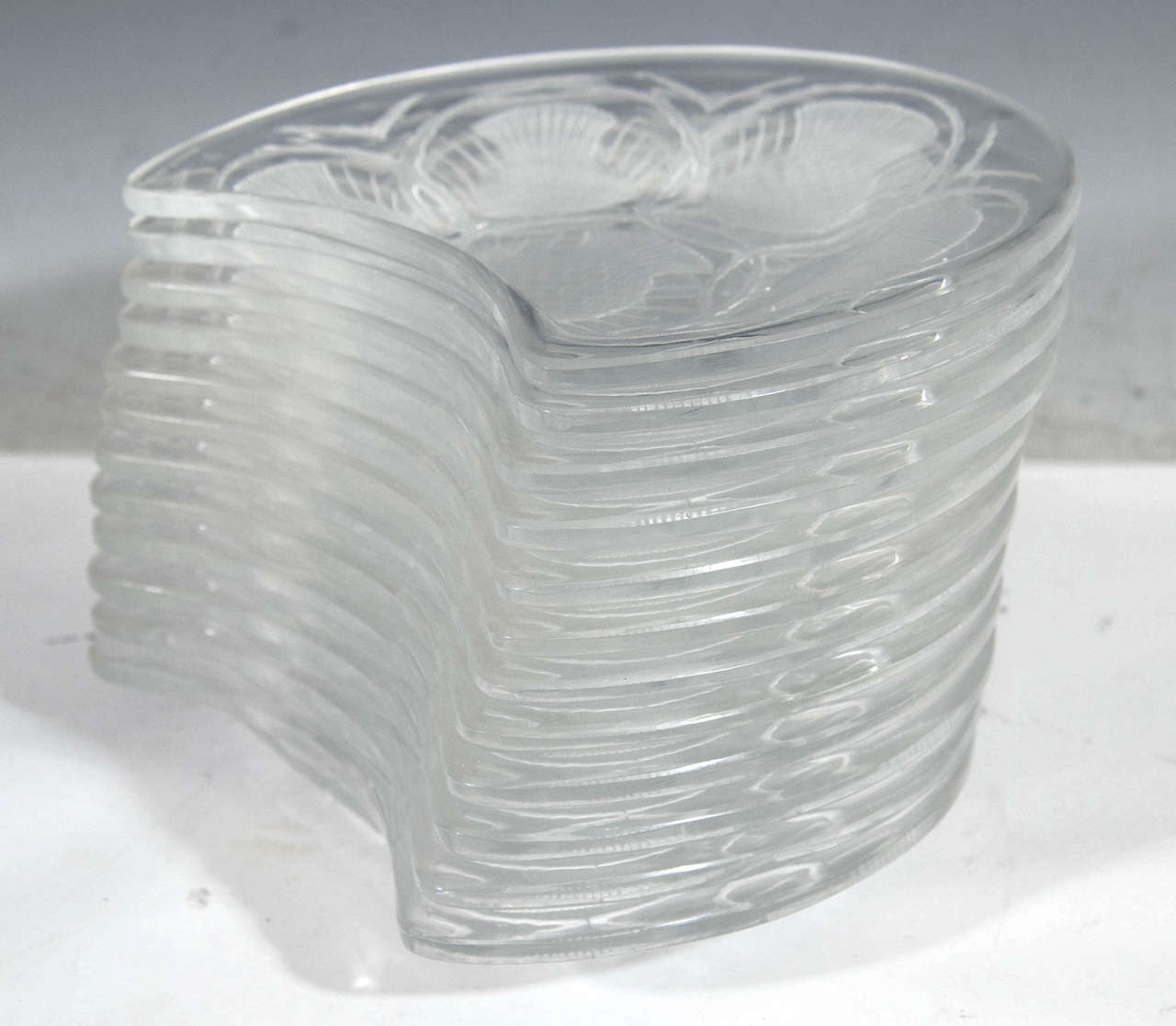 Vintage Set of 12 Lalique Crystal Chardon Thistle Dessert Plates 4