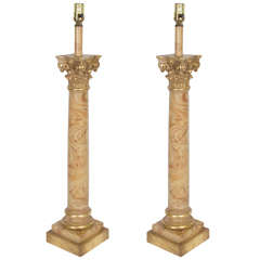 Neoclassical Style Pair of Chapman Faux Marble Column Lamps