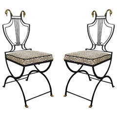 Hollywood Regency Pair of Lyre Back Black Wrought Iron Armchairs with Swan