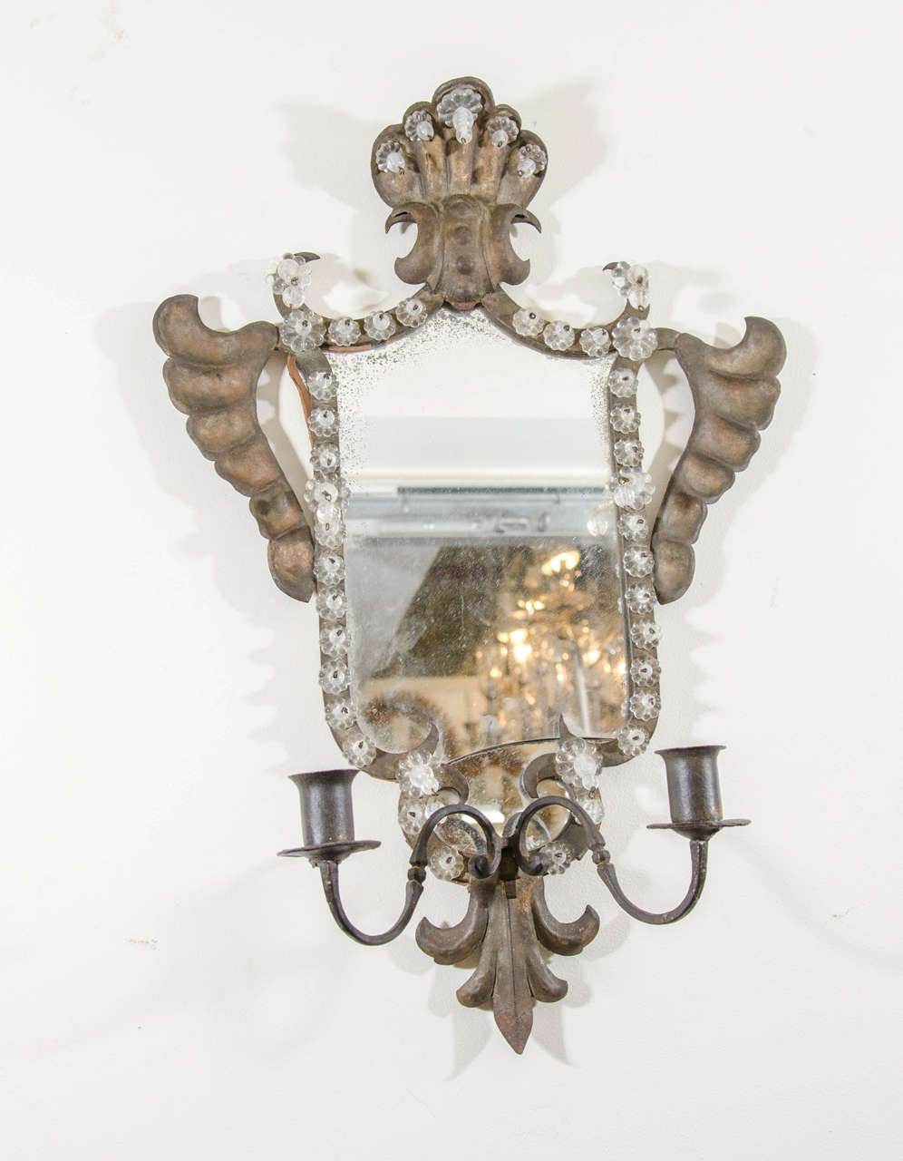 Antique Pair of Venetian Mirrored Wall Sconces in Hand-Wrought Iron For Sale at 1stdibs