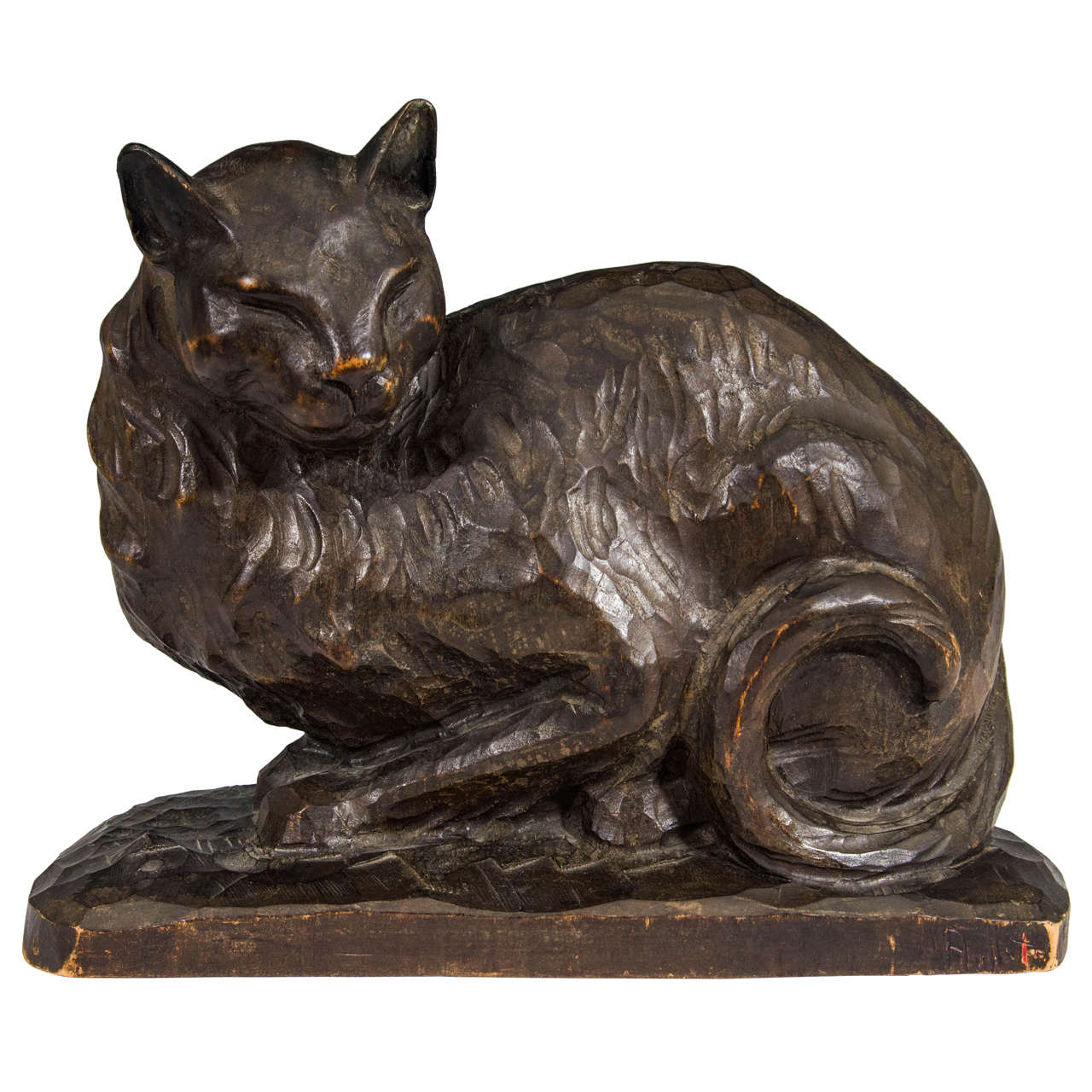 Antique american hand carved wooden cat sculpture