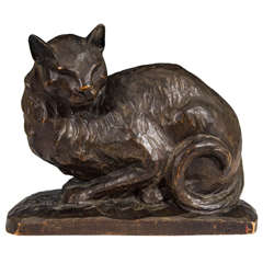 Antique American Hand-Carved Wooden Cat Sculpture Illegibly Signed