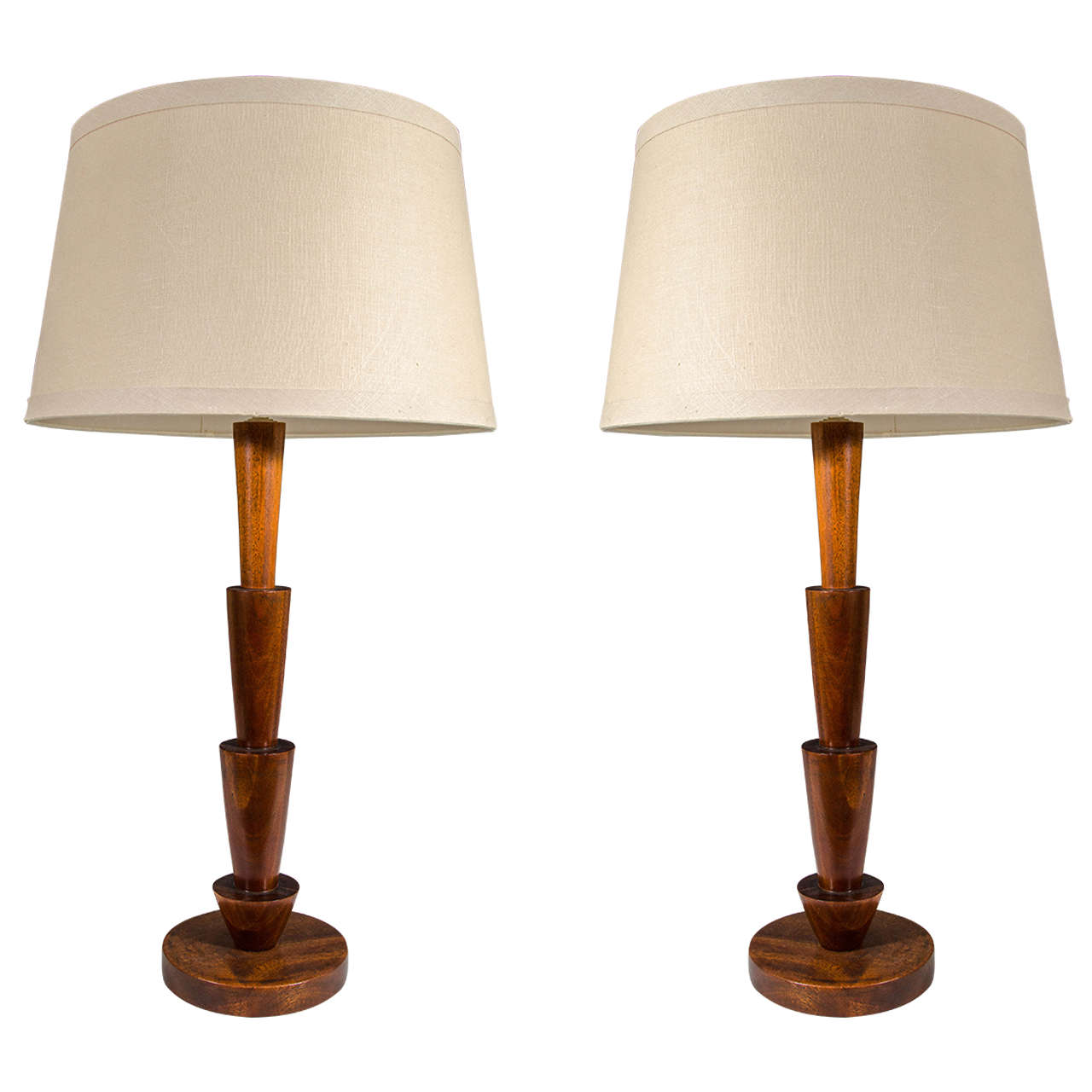 Tall Scandinavian Modern Walnut Table Lamps At 1stdibs