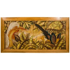 "French Art Deco Signed Painting on Panel ""Tropical Birds"""