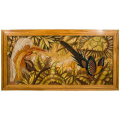 """French Art Deco Signed Painting on Panel """"Tropical Birds"""""""