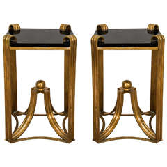 Art Deco Moderne Pair of Rare Bronze Side Tables