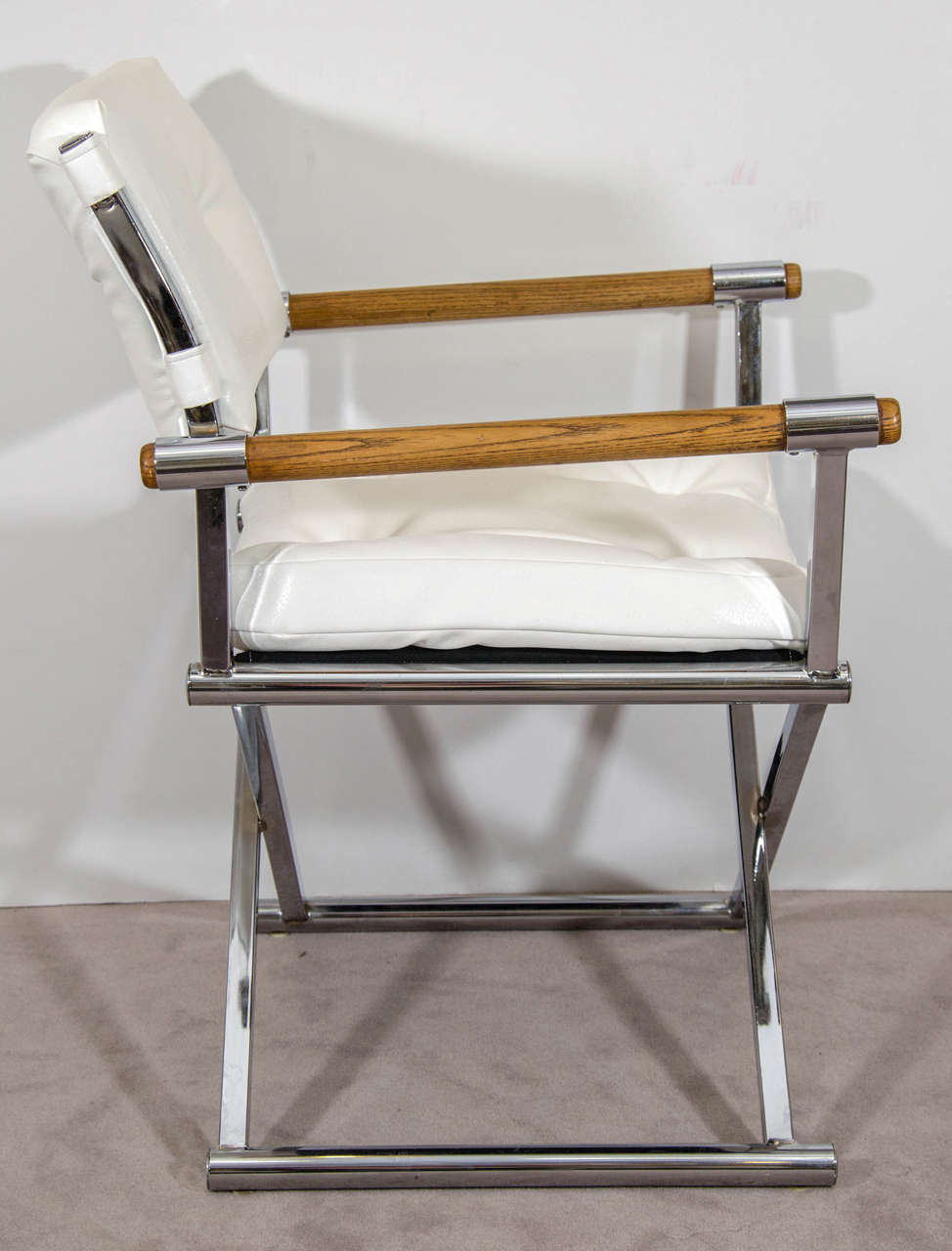 A Midcentury Pair Of White Leather Director S Chairs