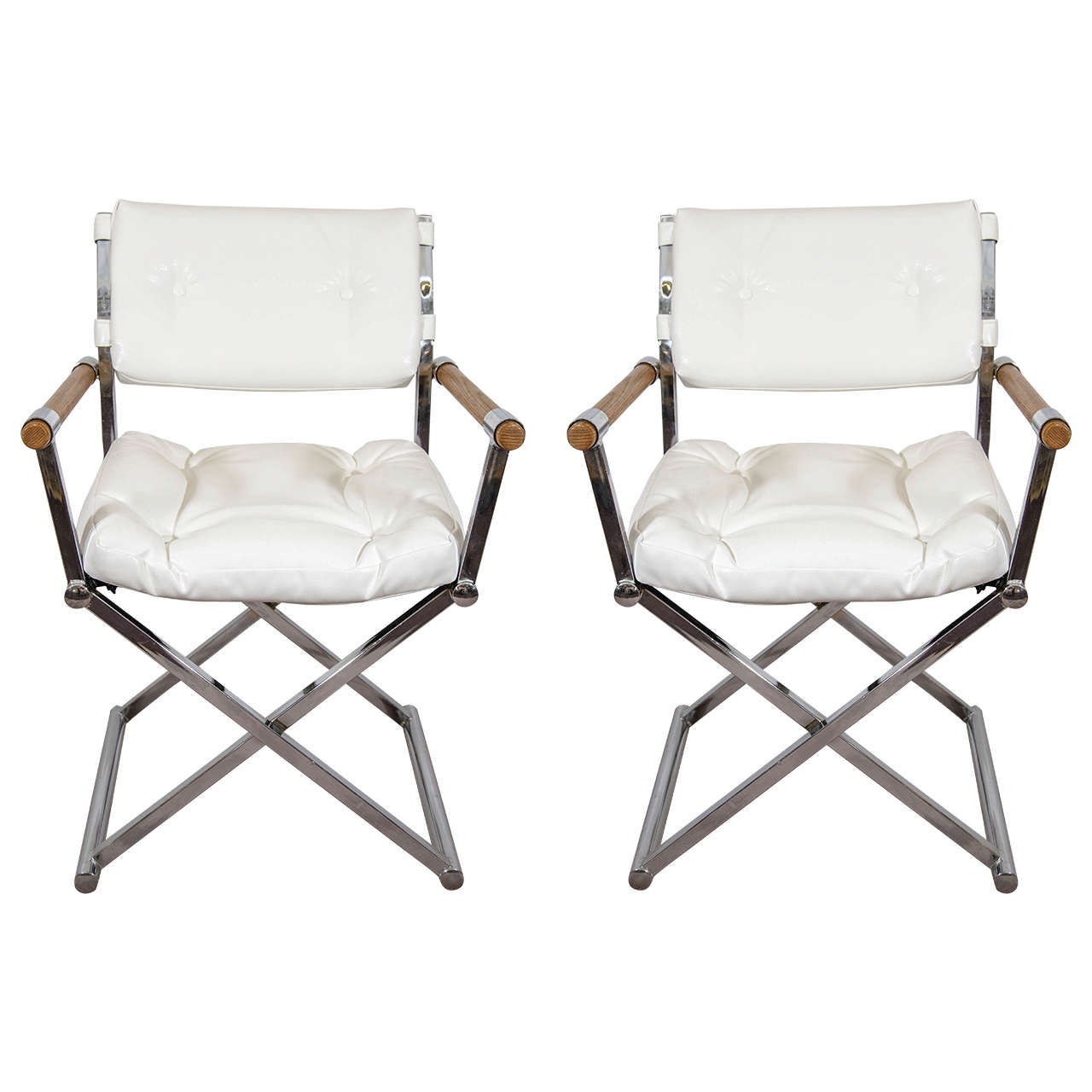Captivating A Midcentury Pair Of White Leather Directoru0027s Chairs Attributed To Milo  Baughman For Sale