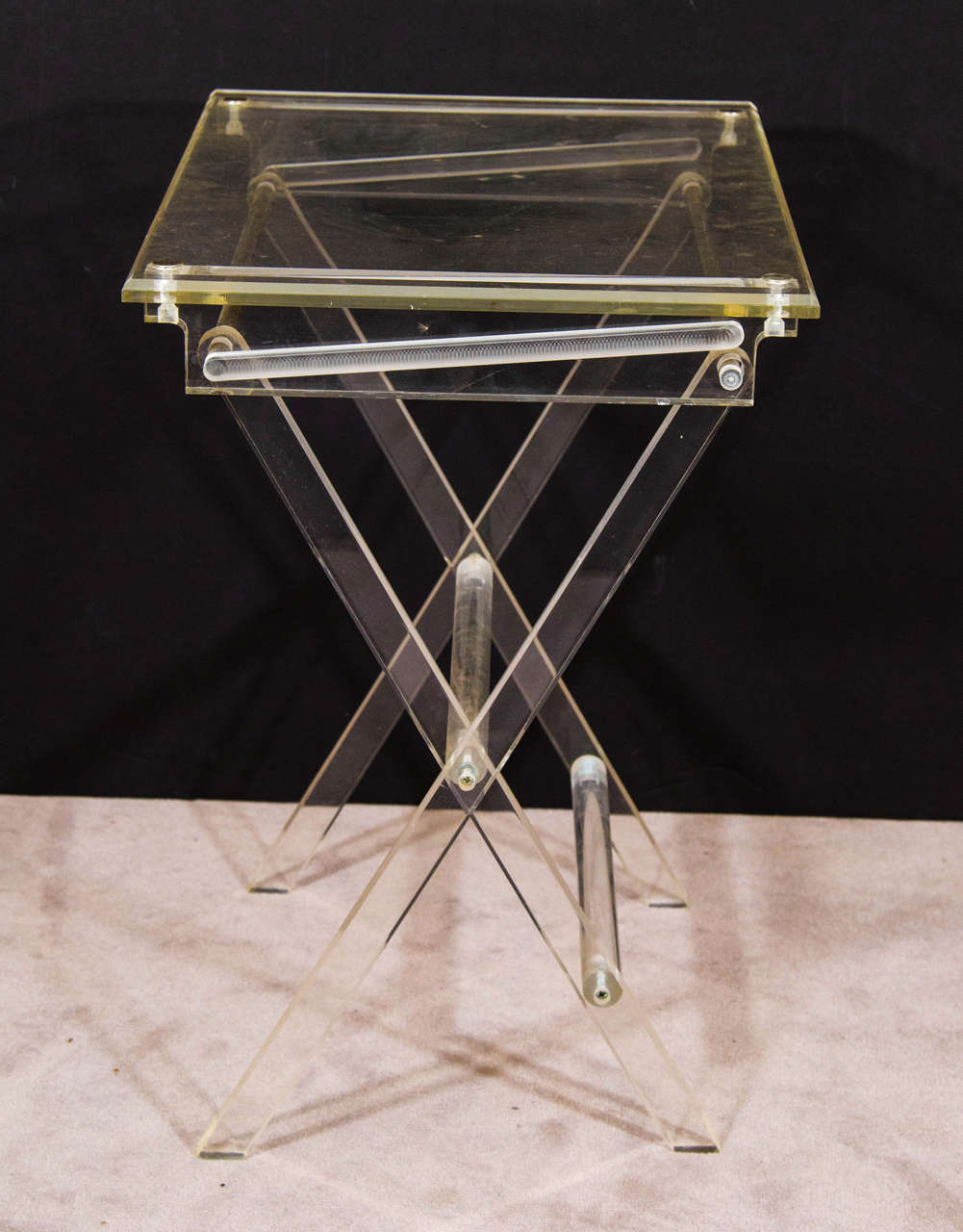 A Midcentury Pair Of Lucite Folding Tray Tables At 1stdibs