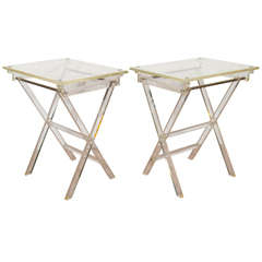 A Midcentury Pair of Lucite Folding Tray Tables