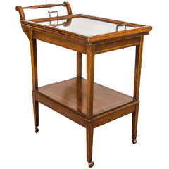 Midcentury Mahogany Serving Cart or Bar Cart with Inlay Design
