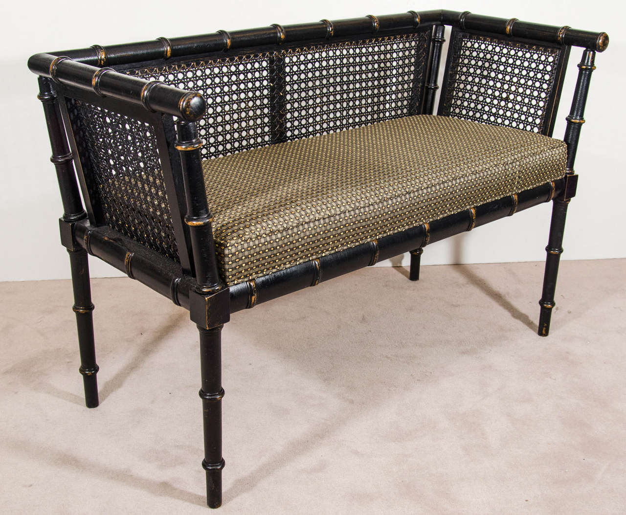 midcentury faux bamboo bench in original black finish at stdibs - midcentury faux bamboo bench in original black finish