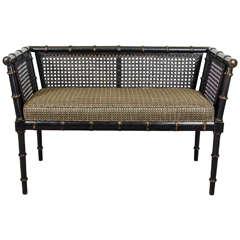 Midcentury Faux Bamboo Bench in Original Black Finish