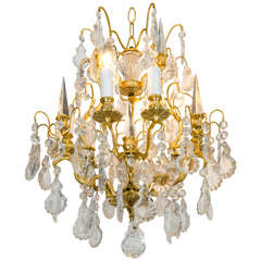 Gilded Bronze Rock Crystal Chandelier with Crystal Spikes