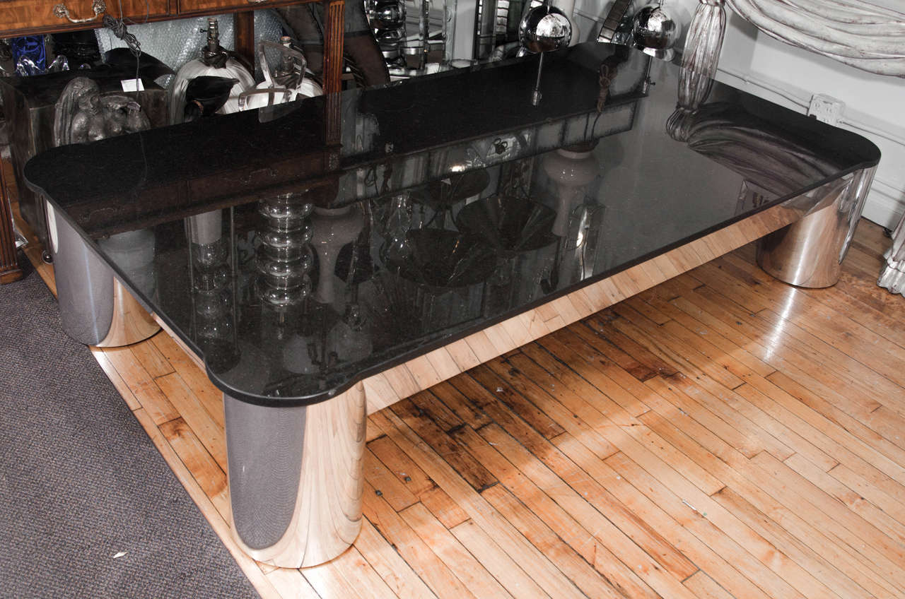 Vintage Black Granite Top Coffee Or Cocktail Table With Tubular Aluminum Legs At 1stdibs