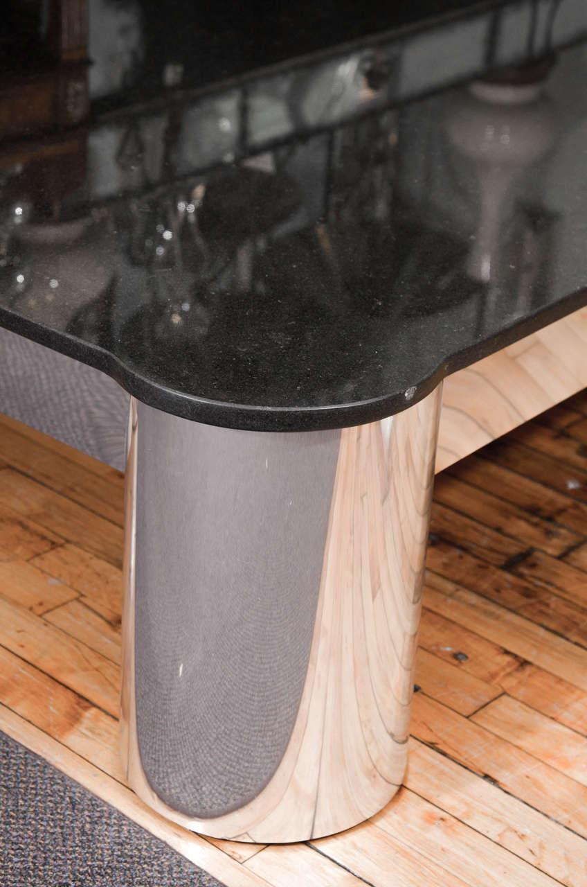 Vintage Black Granite Top Coffee Or Cocktail Table With Tubular Aluminum Legs At 1stdibs