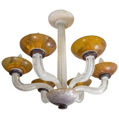Vintage Scavo Glass Six-Light Chandelier by Karl Springer for Seguso