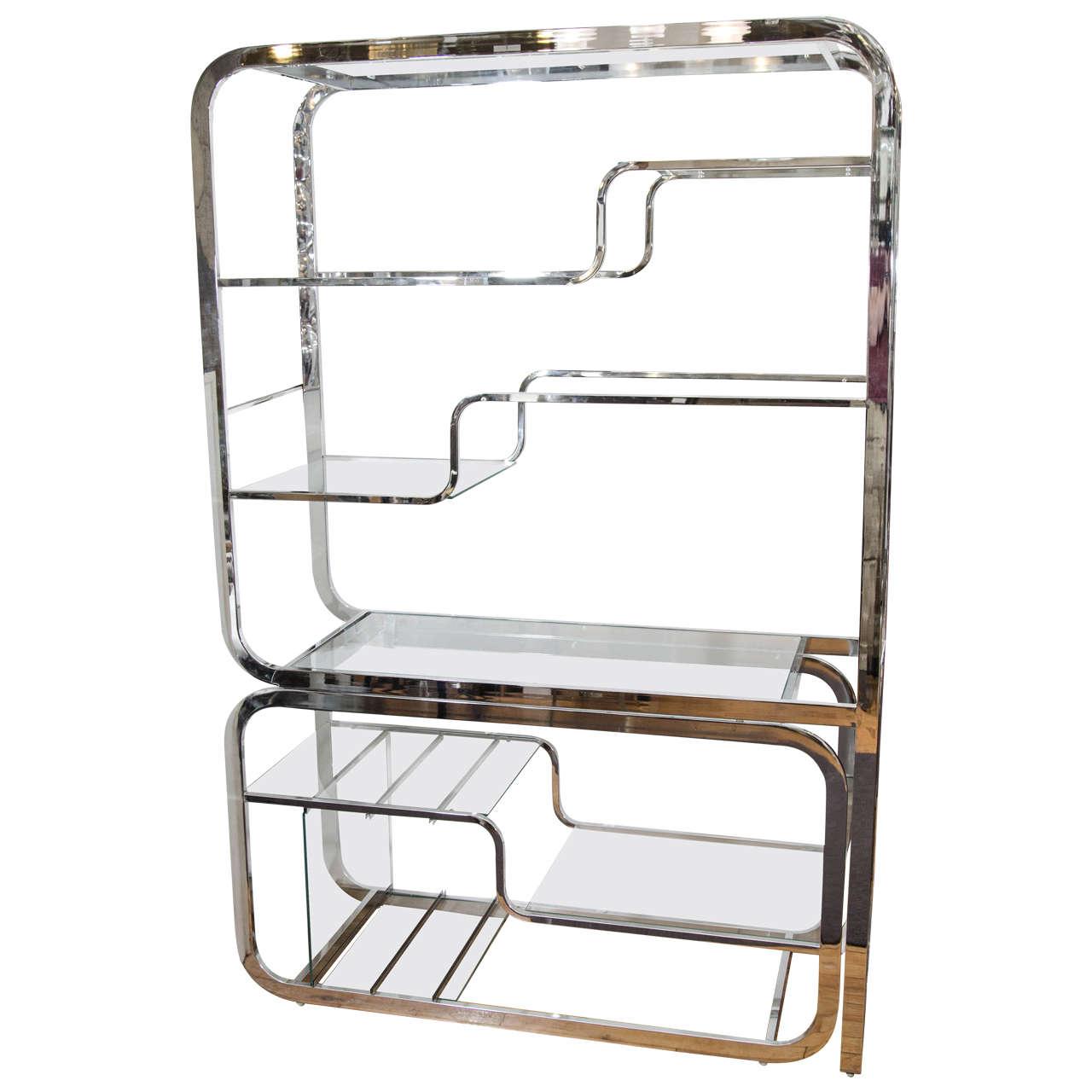 Midcentury Milo Baughman Chrome Room Divider Or Shelves For