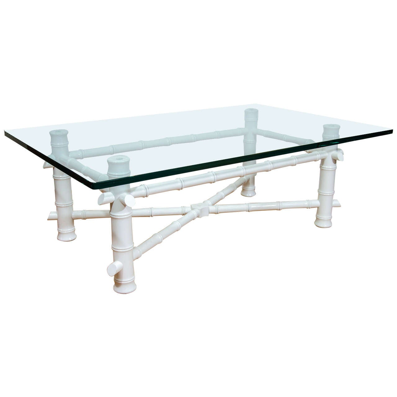 Midcentury White Lacquered Faux Bamboo Cocktail or Coffee Table