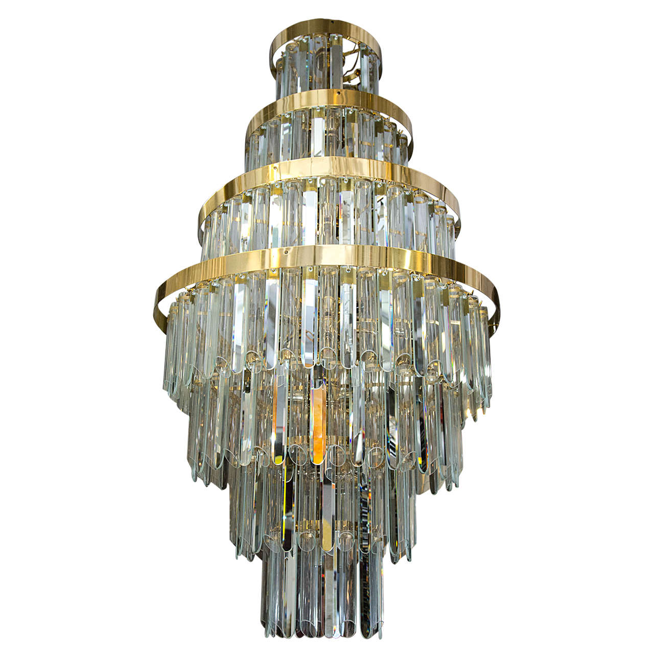 A Midcentury  Mirrored Crystal and Glass Seven-Tier Chandelier