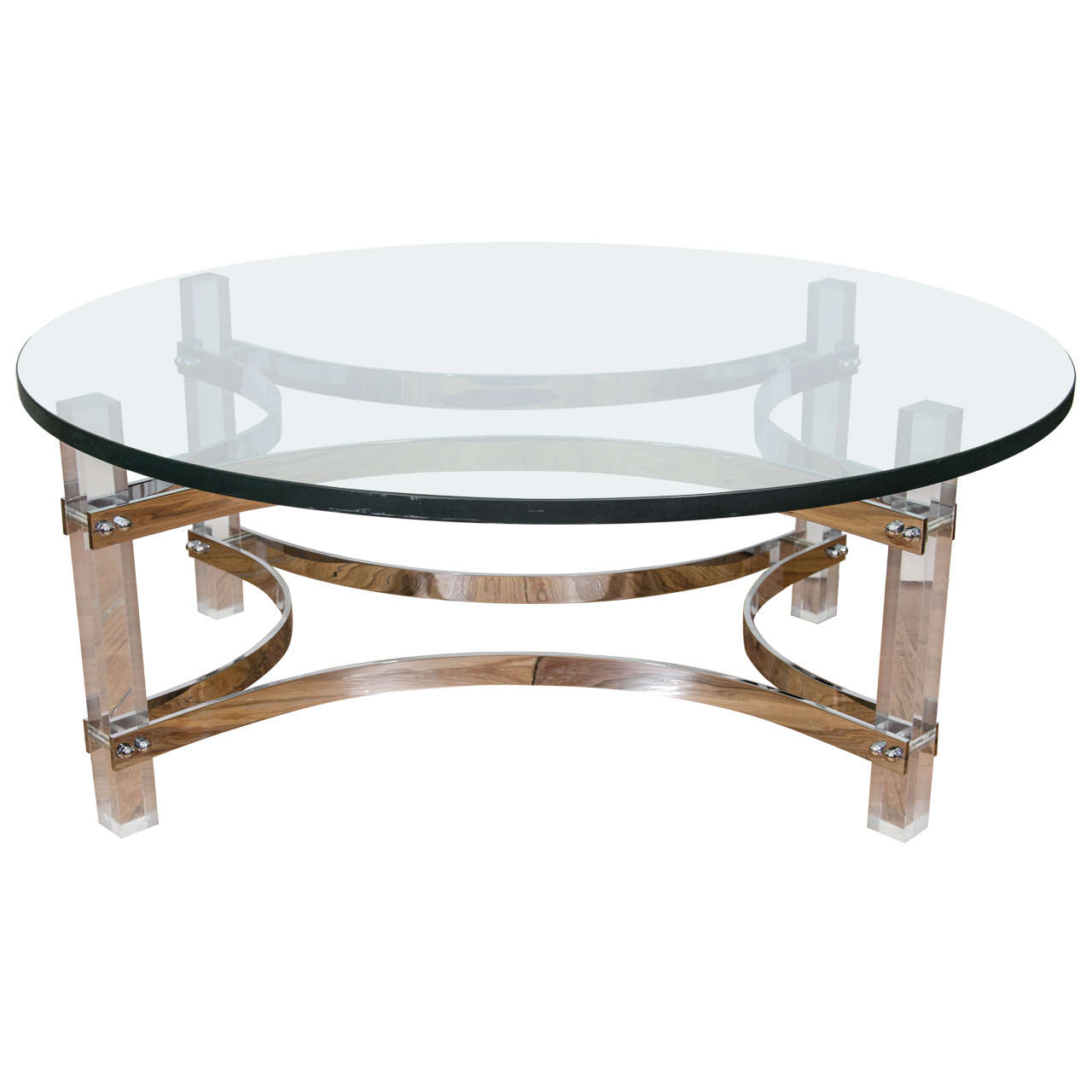 Charles Hollis Jones Chrome And Lucite Coffee And Cocktail Table For Sale