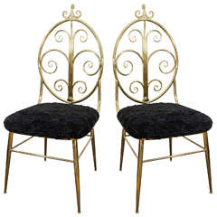 Midcentury Pair of Italian Brass Side Chairs with Oval Back and Scroll Detail
