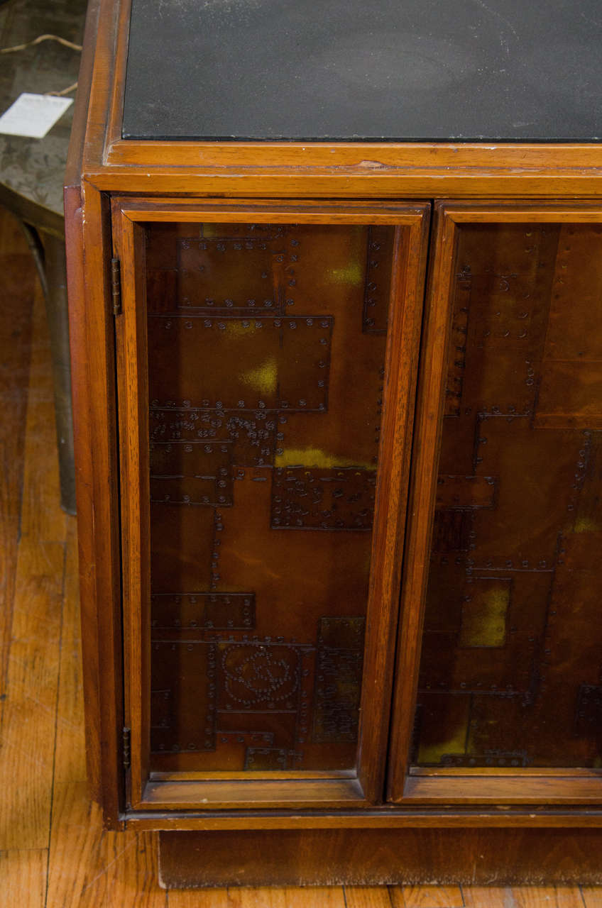 American Brutalist Paul Evans Style Wooden Cabinet with Patchwork Designs For Sale