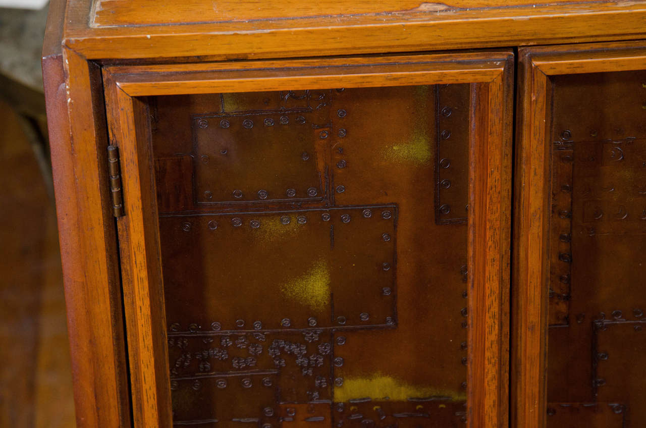 Brutalist Paul Evans Style Wooden Cabinet with Patchwork Designs In Good Condition For Sale In New York, NY