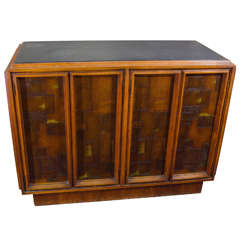 Brutalist Paul Evans Style Wooden Cabinet with Patchwork Designs