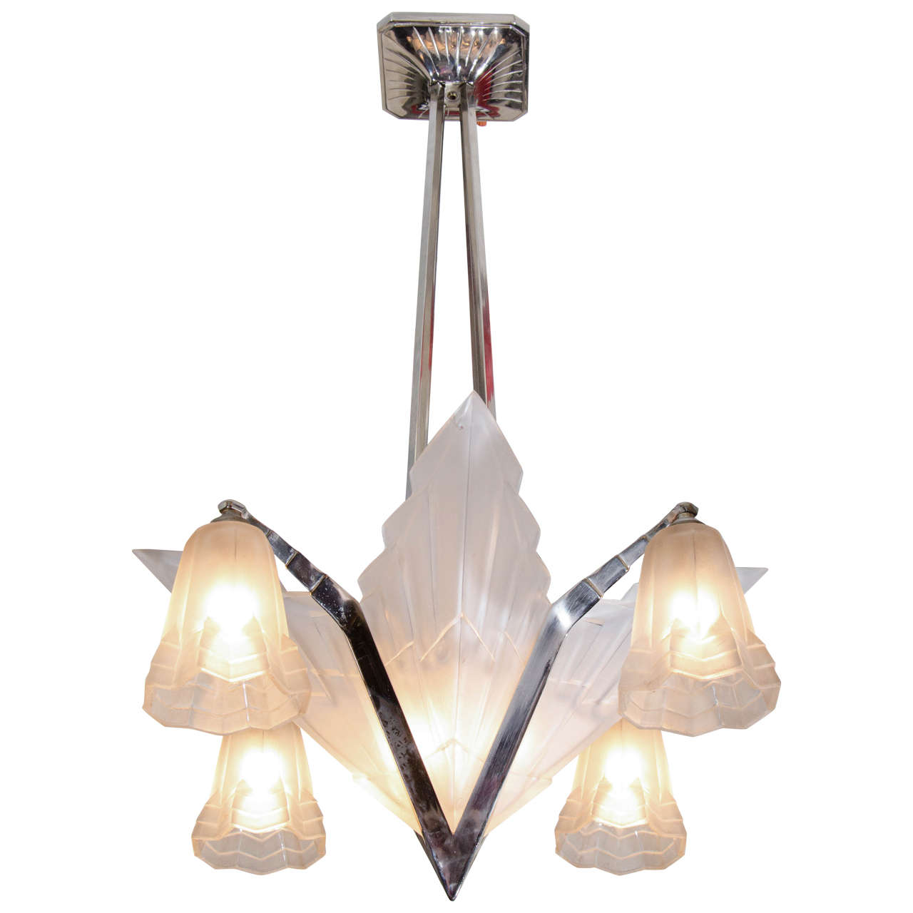 Art Deco French Nickel and Frosted Glass Chandelier by David Gueron for Degue