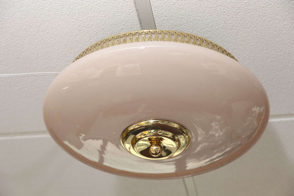 French Pink Art Deco Plafonnier Ceiling Light Dusty Pink with Gold Detail Dressing Room For Sale