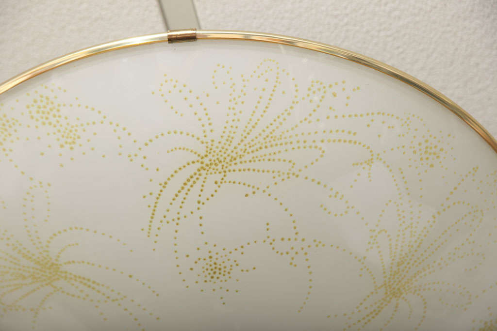 European Deco Ceiling Light, French, Botanical Motive Neutral Colors Elegant Gilt Edging For Sale