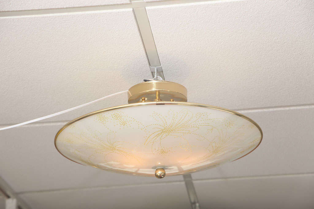Deco Ceiling Light, French, Botanical Motive Neutral Colors Elegant Gilt Edging For Sale 1