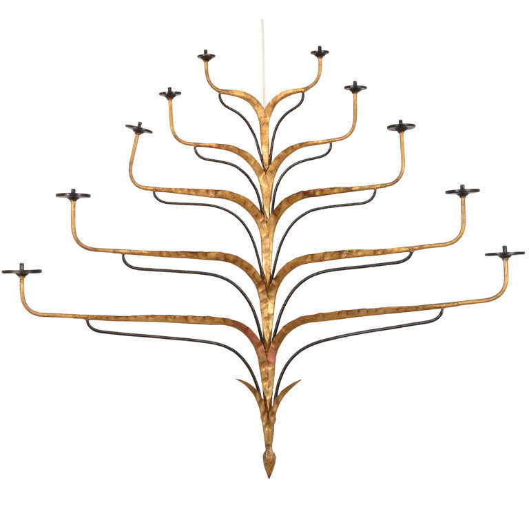 Gilt Iron and Painted Wall Sconce