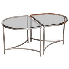 Fine  & Elegant  Jansen Style Twin Demilune Chrome Tables.