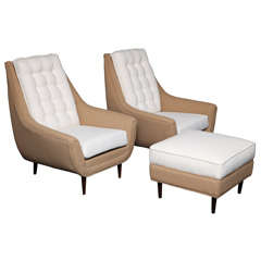 Grand PAIR of 50's High Back Lounge Chairs with Ottoman