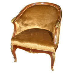 19th c gilt bronze and mahogany bergere