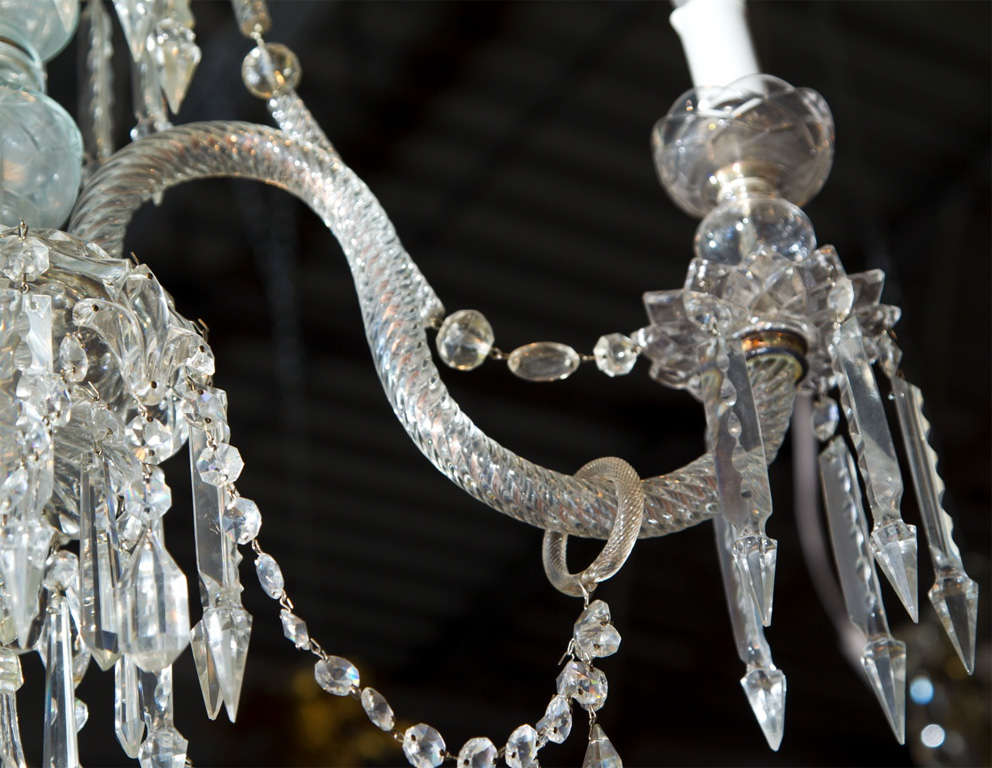18th Century and Earlier Georgian Style 3 Light Crystal Chandelier For Sale