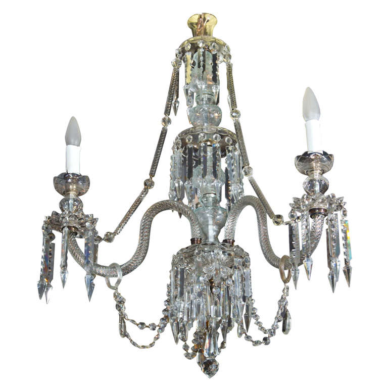 Georgian Style 3 Light Crystal Chandelier