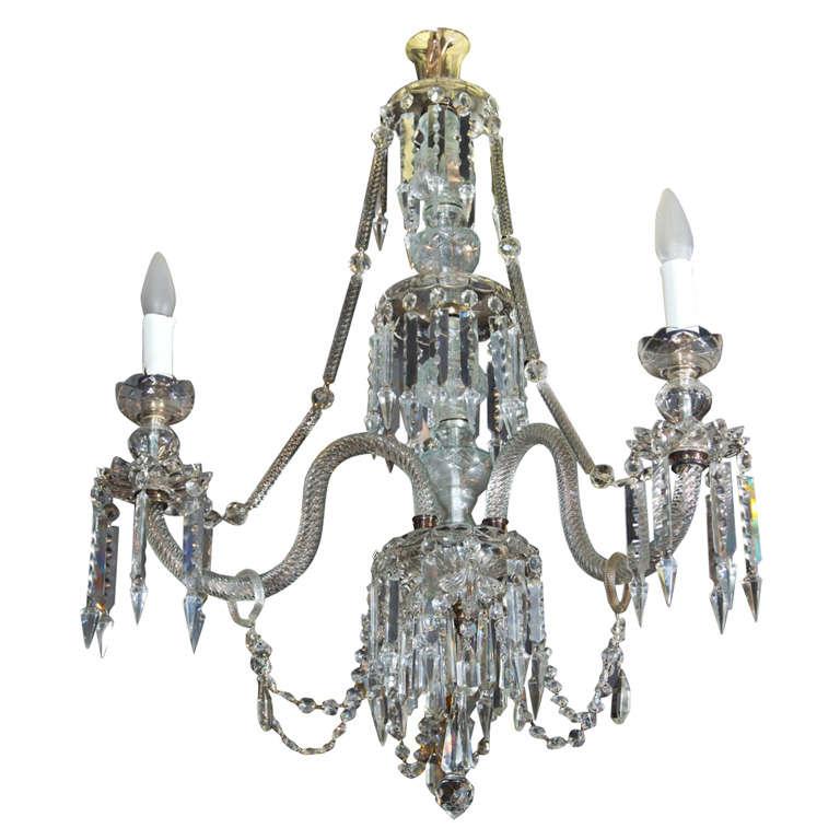 Georgian Style 3 Light Crystal Chandelier For Sale
