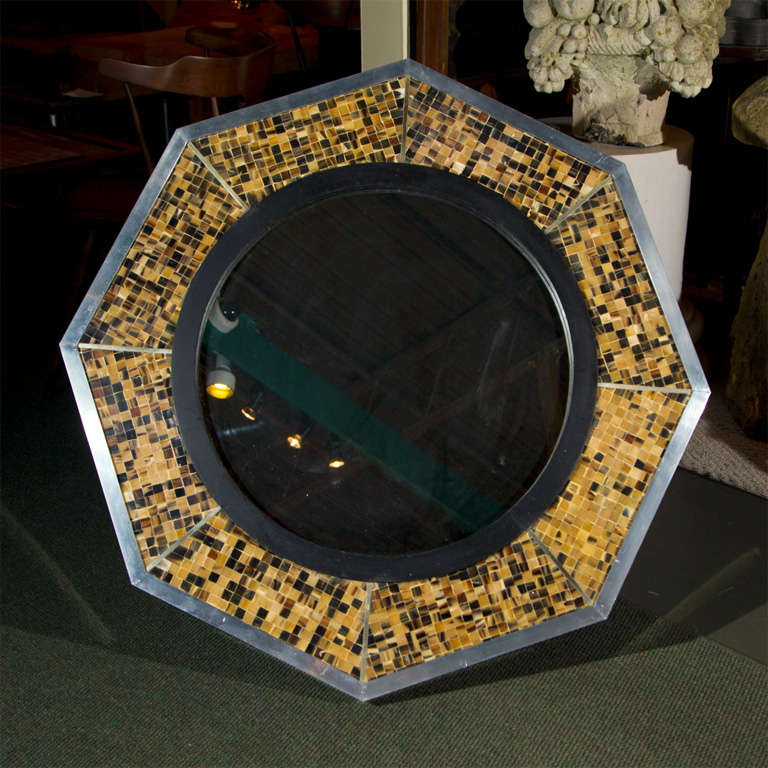 Bone & Tortoise Shell Octagonal Mirrors By Anthony Redmile 2
