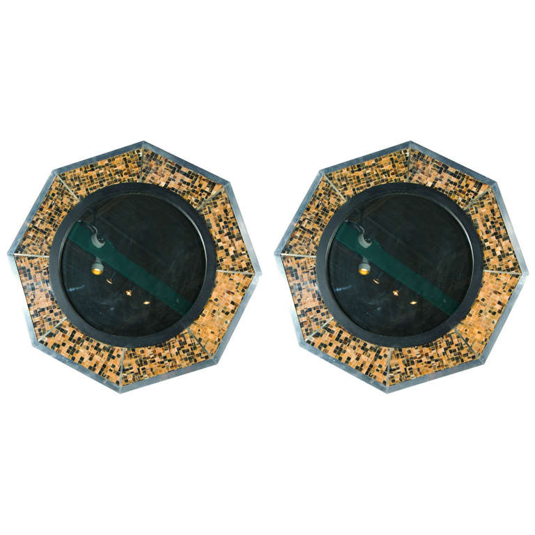 Bone & Tortoise Shell Octagonal Mirrors By Anthony Redmile 1