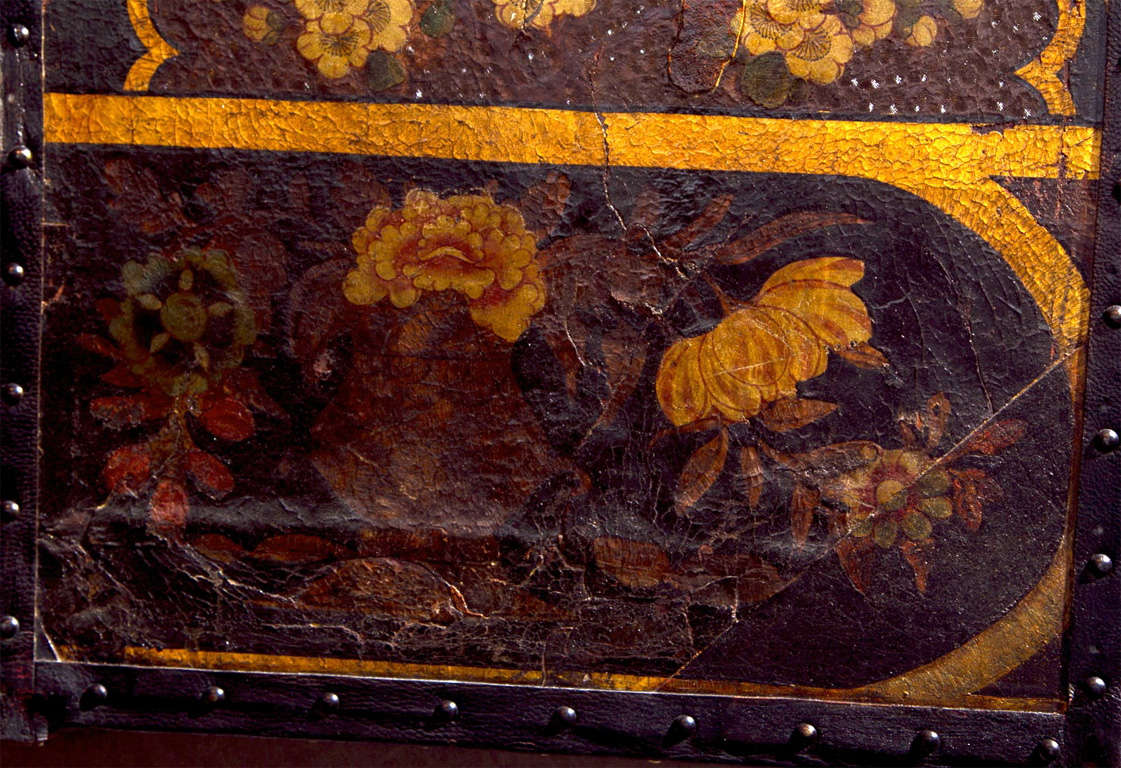 19th Century Chinoiserie Six Panel Painted Leather Screen For Sale