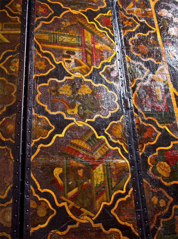 Chinoiserie Six Panel Painted Leather Screen For Sale 2