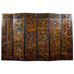 Chinoiserie Six Panel Painted Leather Screen