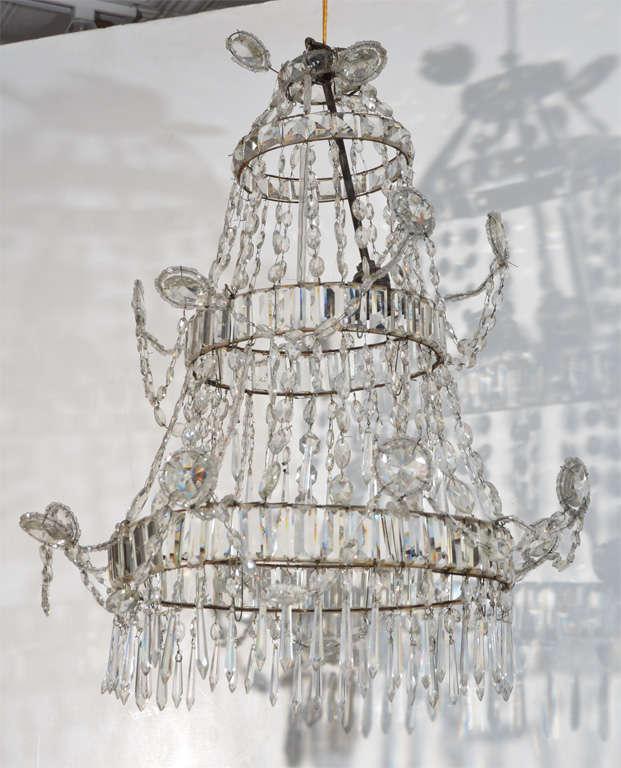 Neoclassical Style Cut Glass Single-light Chandelier